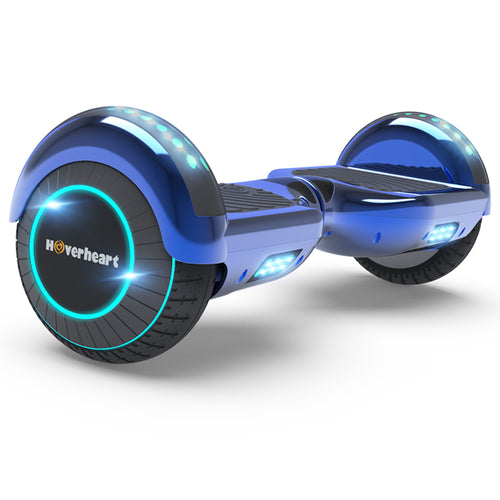 "6.5"" Metallic Bluetooth Kids Hoverboard with LED Lights -Chrome Blue"