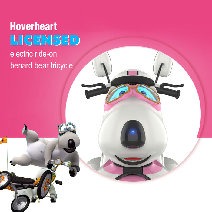 HoverHeart Bernard Bear 3-Wheel Ride-On Motorcycle | Pink