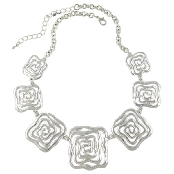 Silver Color Flower Chunky Chains Statement Necklace