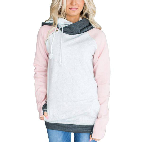 Causal Double Ladies Sweatshirts Tracksuit Hooded