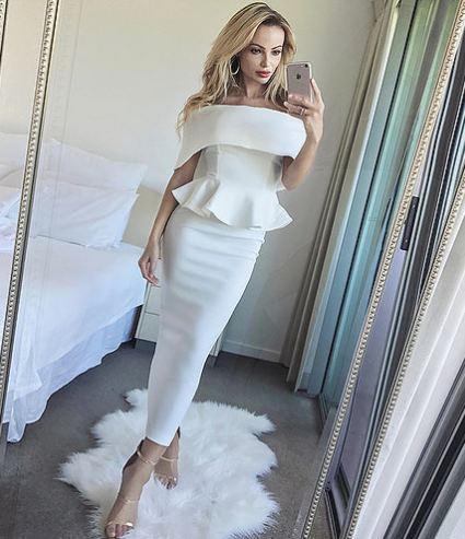 Ruffle Hem Off Shoulder Midi Dress