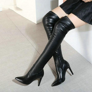 Woman Leather Thin High Heel Pointed Toe Over The Stretch Knee Boots