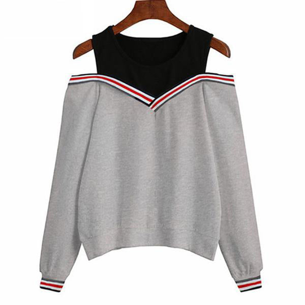 Sweatshirt Off Shoulder Patchwork Hoodies Top