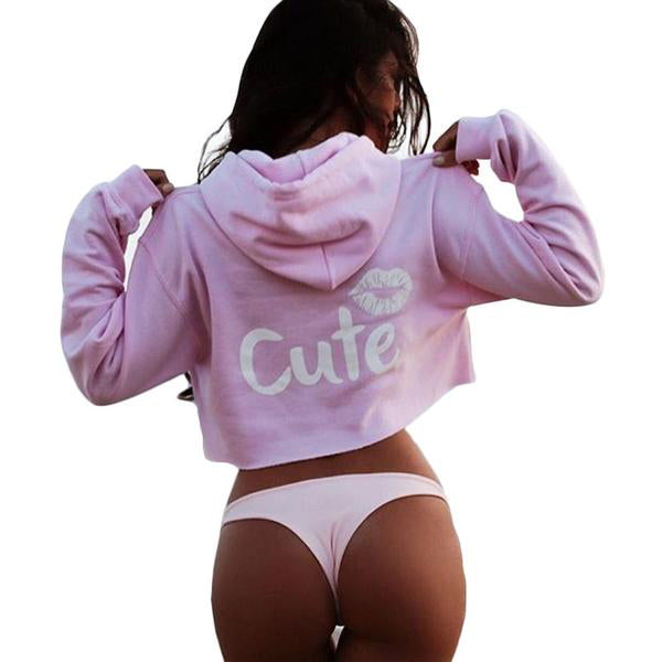 Sweatshirt Women Long Sleeve Casual Lip Print Hooded Top