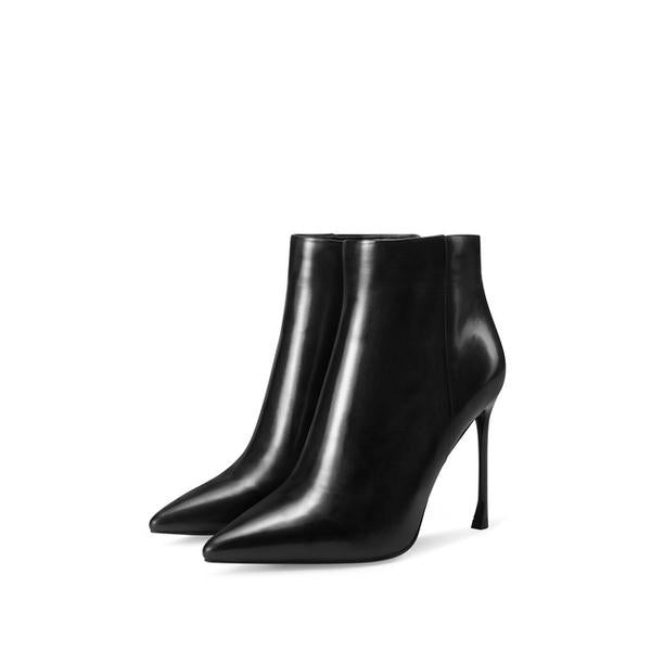 Genuine Leather Ankle Boots Black New Pointed Toe Side Zipper