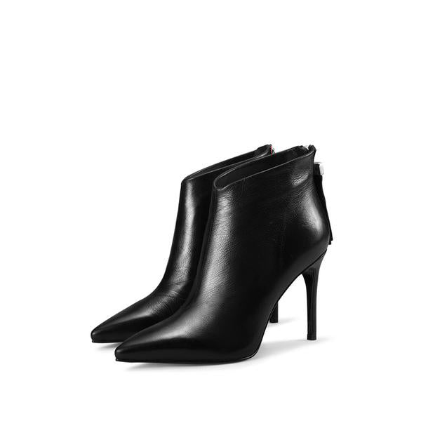 Genuine Leather Sexy High-Heeled Ankle Boots For Women