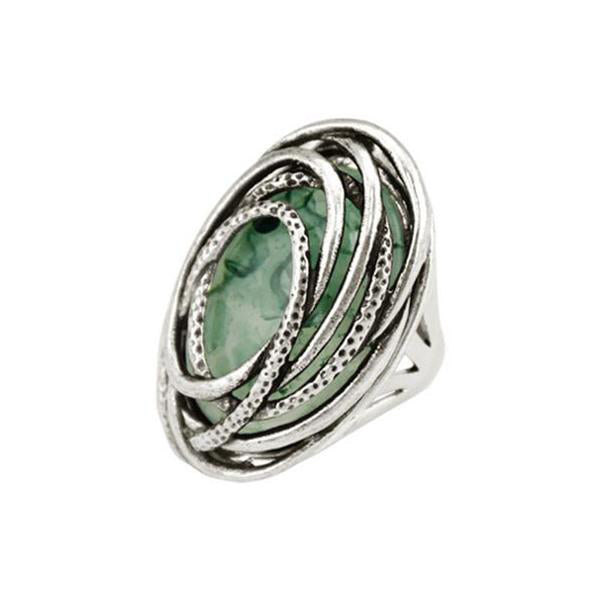 New Fashion Vintage Antique Silver Color Resin Rings