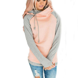 Women Hooded Sweatshirt Side Zipper Patchwork Jumper Hoodies