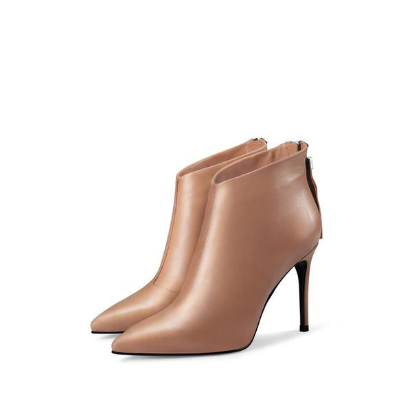 Genuine Leather Ankle Boots For High Heeled Women