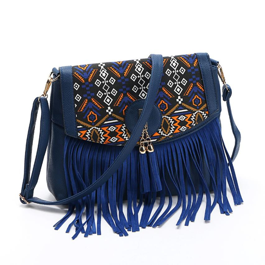 Women Leisure Tassel Vintage Splicing Romantic Shoulder crossbody bag Women Messenger Bag #4M