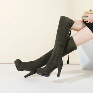 Woman Suede Platform Square High Heel Over The Knee Boots