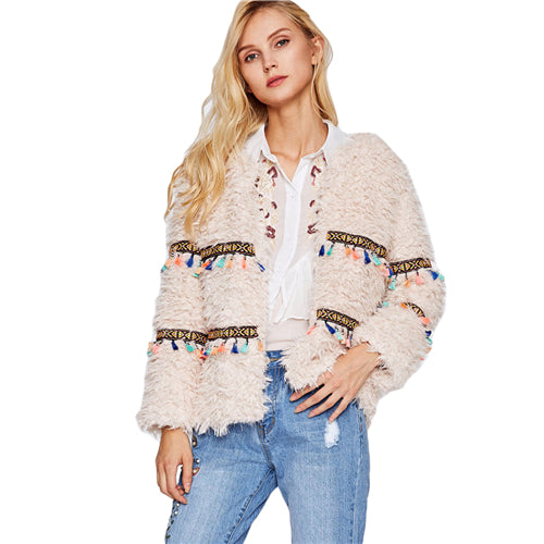 Embroidery Tape and Tassel Detail Open Front Warm Coat