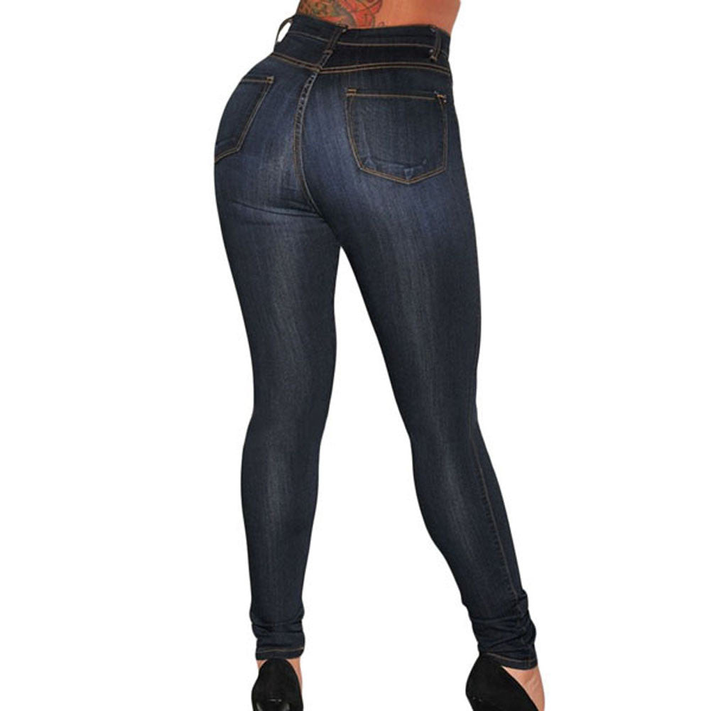 Women's High Waist Jeans Casual Slim Cotton Dark Wash Denim Skinny Jeans