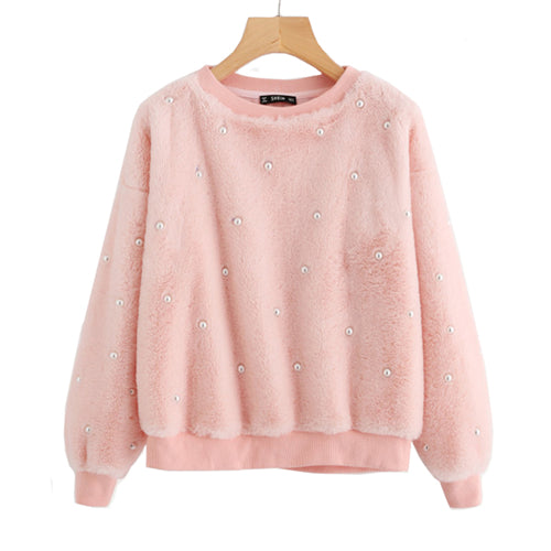 Pink Long Sleeve Womens Sweatshirts