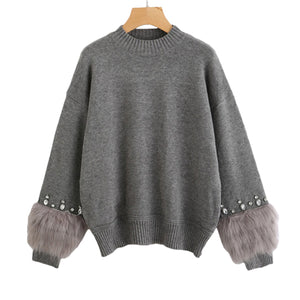 Grey Crew Neck Casual Pullovers Autumn Elegant Long Sleeve Sweater