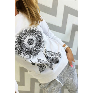 Women Sweatshirt Long Sleeve Print Hoody Jumper Streetwear