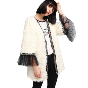 Winter Beige Women Faux Fur Coat