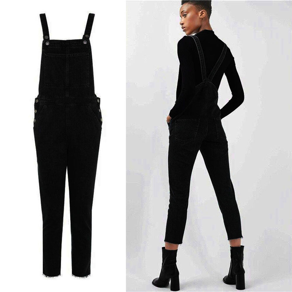 Women's Black Overall Pants Casual Jumpsuit Jeans Pockets Trousers