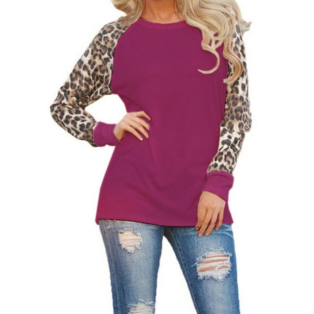Women Sweatshirts Leopard Long Sleeve Pullovers Tops