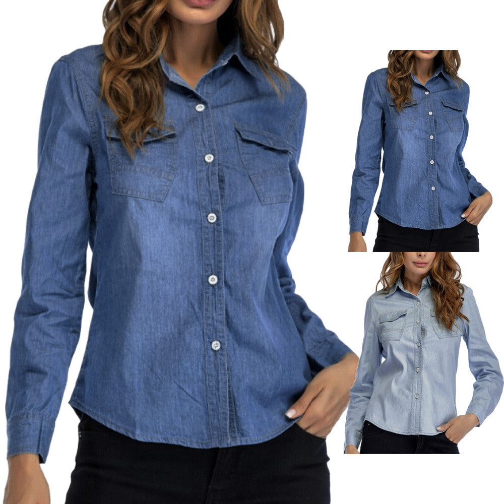 Women Denim Shirt Fashion Style Long Sleeve Casual Shirts Women Blouse Tops
