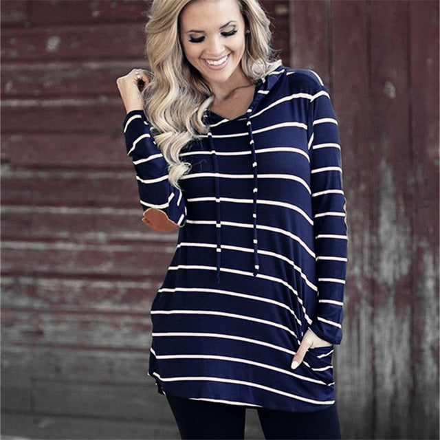 Casual Patchwork Hooded Sweatshirt Women Pullovers Fashion