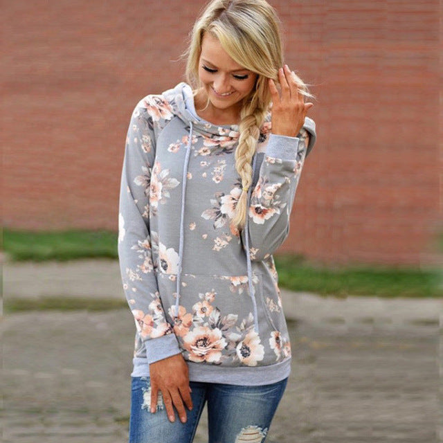 Vintage Floral Printed Female Hoodies Casual Women Tops