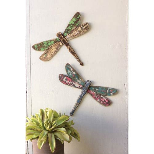 Kalalou Wooden Dragonfly Wall Art, Set of Two