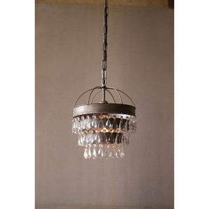 Kalalou Pendant Lamp with Layered Shade and Hanging Glass Gems