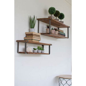 Kalalou Set of Double Recycled Wood and Metal Shelves