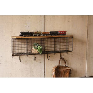 Kalalou Natural Wire Mesh Four Horizontal Cubbies w/ Raw Wooden Top