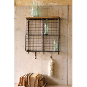 Wall Cubbies - Four Square Wire Mesh Cubbies with Wooden Top