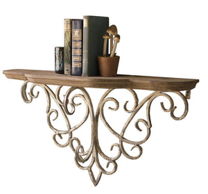 Decorative Wall Shelf with Vintage Style Rustic Bracket with Filigree Detail and Distressed Paint Finish