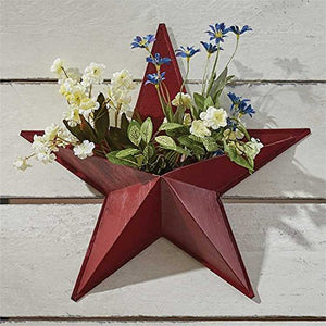 Red Painted Star Wall Pocket