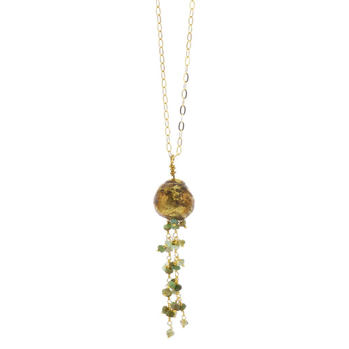 DANGLING BEADED CHAIN BRASS NECKLACE - GREEN CHRYSOPHRASE