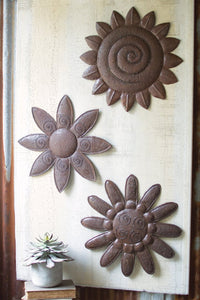 SET OF THREE RUSTIC METAL HAND HAMMERED WALL FLOWERS