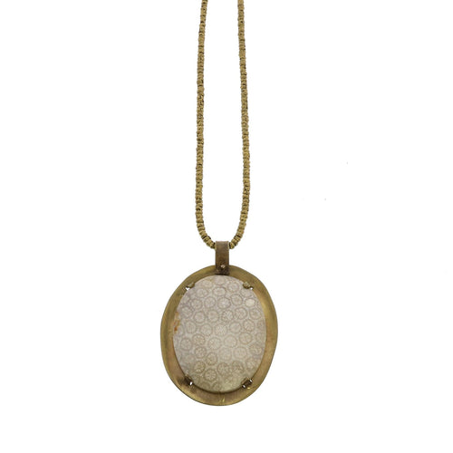PRONG SET BRASS PENDANT - FOSSILIZED CORAL