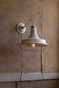 Vintage Style Farmhouse Wall Sconce Light Fixture with Distressed Ivory Chippy Paint Finish