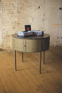 Industrial Round Metal Storage Table with Doors
