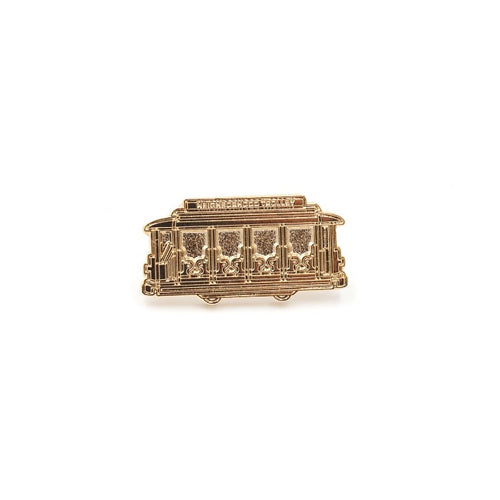Gold Neighborhood Trolley Enamel Pin