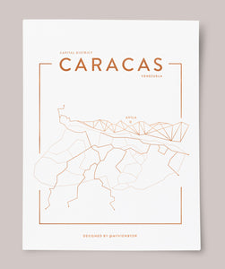 CARACAS Map - Rose Gold, Gold with white Background