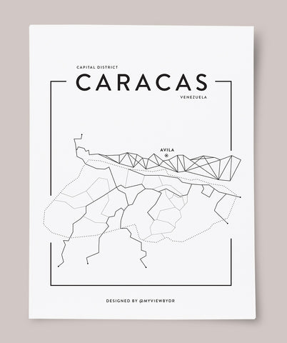 CARACAS MAP - Digital Download Black & White