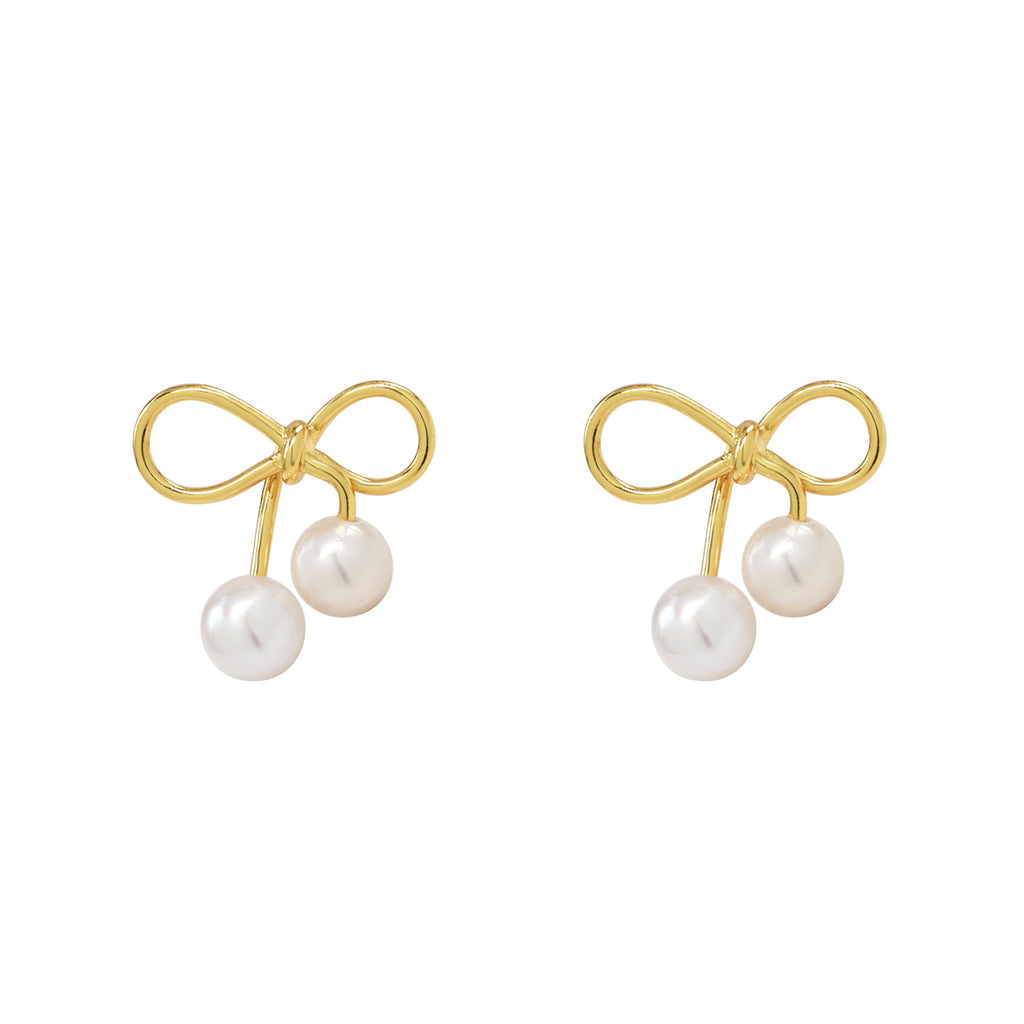 Little bow earrings with pearls