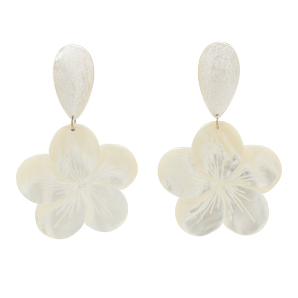 Carved mother of pearl teardrop with large carved pearl flower drop earrings