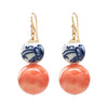 Gold-filled 14K hook earrings with ceramic bead and rounded coral bead