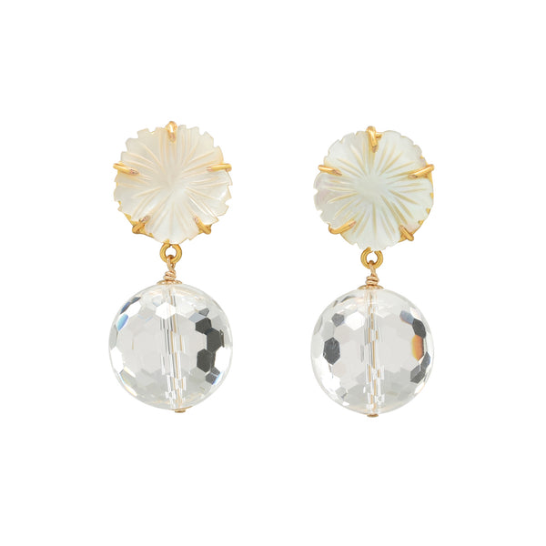 Mother of pearl flowers with rock quartz dangle earrings