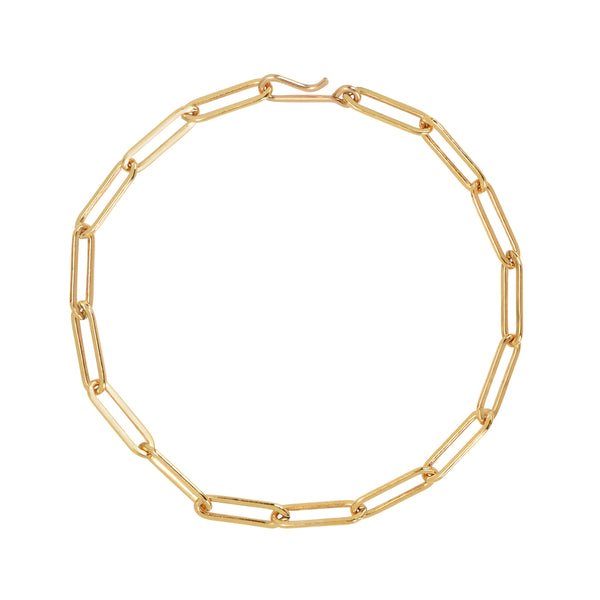 Gold filled paperclip style chain link bracelet