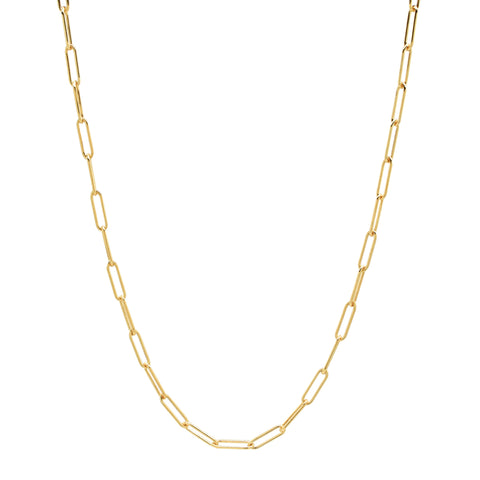 Gold filled chain link paperclip style necklace
