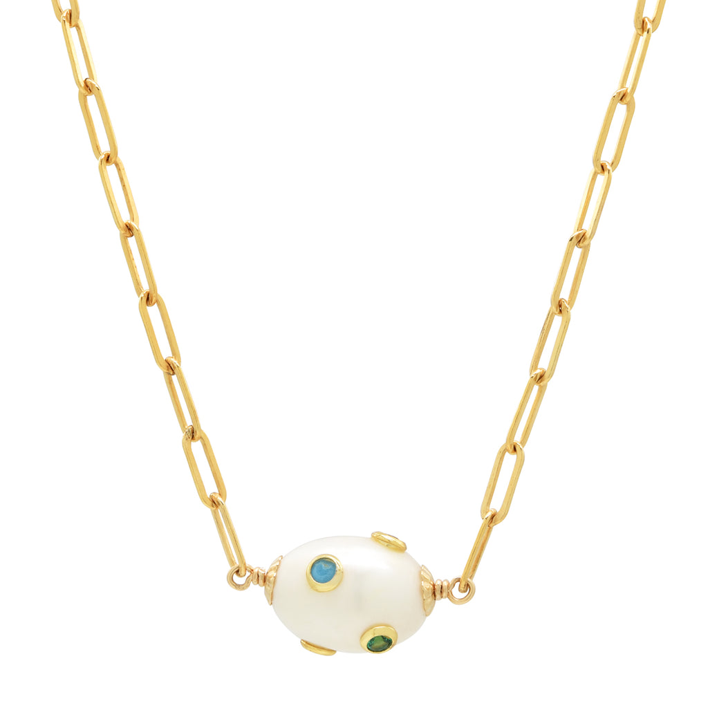Paperclip chain link necklace with CZ studded freshwater pearl