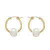 Small goldfilled hoops with freshwater pearl strung on each earring