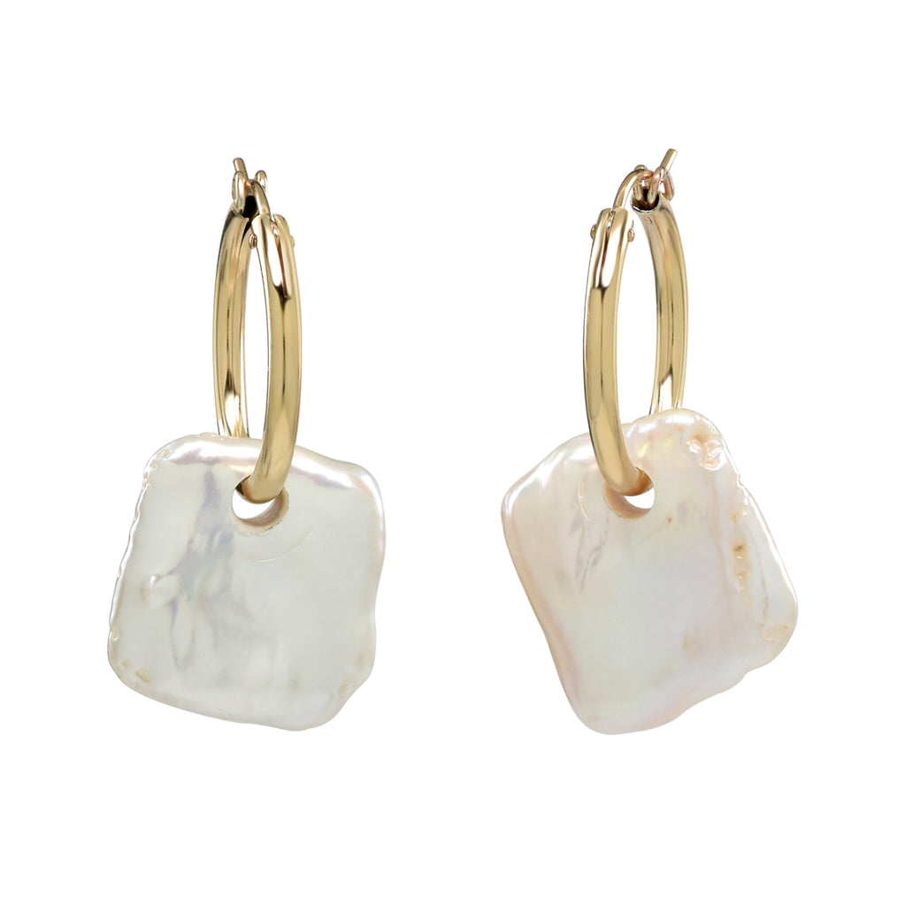 Two gold-filled small hoop earrings with square cut pearl